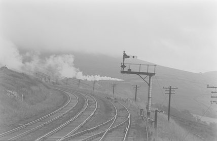 A steam locomotive on a viaduct, distant view,A1969.70/Box 5/Neg 1242/11