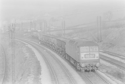 A diesel locomotive hauling a goods train,A1969.70/Box 5/Neg 1259/6