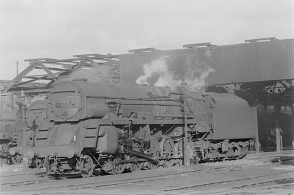 Photographic negative taken by John Clarke of steam locomotives outside a shed . ,A1969.70/Box 5/Neg 1272/3