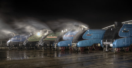 A-4 Class locomotives at the Great Gathering/ Great Goodbye  in the National Railway Museum Shildon, 2014.