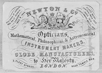 Trade card of Newton & Co, 3 Fleet Street, London, 1865.