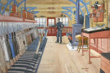 'Interior of Brighouse East Junction Signal Box', West Yorkshire, 1917.