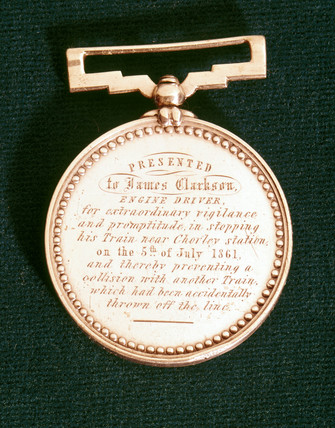 Gallantry medal presented to locomotive engine driver James Clarkson, 1861.
