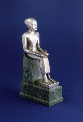 Statuette of Imhotep seated, Egyptian, 600-500 BC.