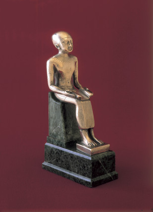 Statuette of Imhotep seated, Egyptian, c 600-501 BC.