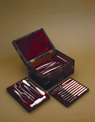 Set of dental instruments, c 1845.