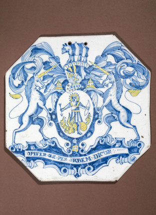 Pharmacy tile, English, 17th century.