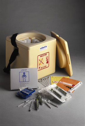 Vaccine carrier, thermometer, and monitor cards, 1994.