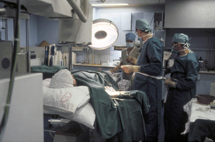 Open heart surgery, St George's Hospital, London, c 1979.
