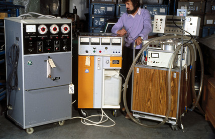 Dialysis equipment with curator, Science Museum Hayes Store, Middlesex.