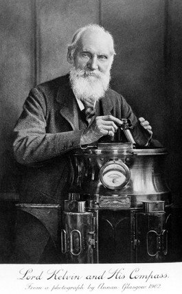 Lord Kelvin and his compas, 1902.