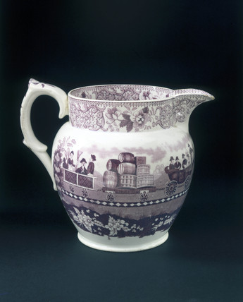 Glazed jug with claret mauve transfer, 1830.