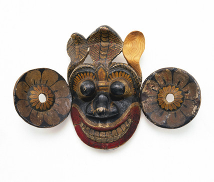 Painted demonic face mask, Sri Lankan, 1771-1910.