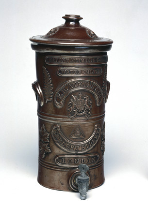 Patent moulded carbon water filter, late 19th-early 20th century.