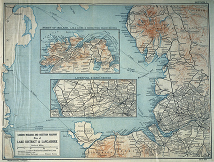 Map of the London Midland& Scottish Railway, c 1930.