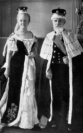 Lord and Lady Kelvin in coronation dres, 1892.