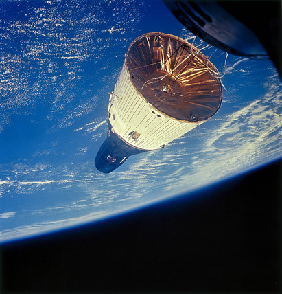 Gemini 7 spacecraft in Earth orbit, 1965.