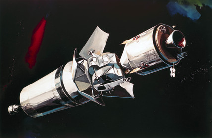 Artist's impresion of an Apollo docking manoeuvre, 1968.