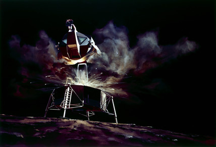 Apollo Lunar Module ascent stage taking off from the Moon, 1968.