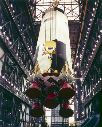 First stage of the Apollo 10 Saturn V rocket, 1969.