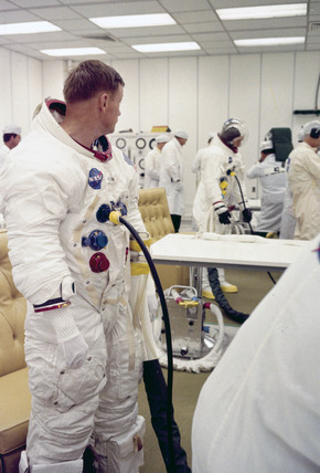 Apollo 11 astronauts Neil Armstrong (front) and Michael Collins, 1969.