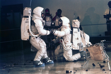 Apollo 12 astronauts Charles Conrad and Alan Bean during training, 1969.