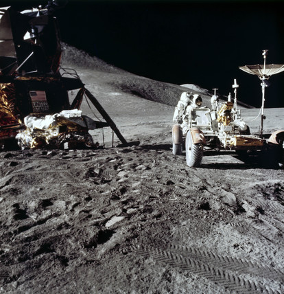 Apollo 15 astronaut James Irwin, and the Lunar Rover on the Moon, August 1971.