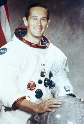 Apollo 16 astronaut Charles Duke in spacesuit, 1971.
