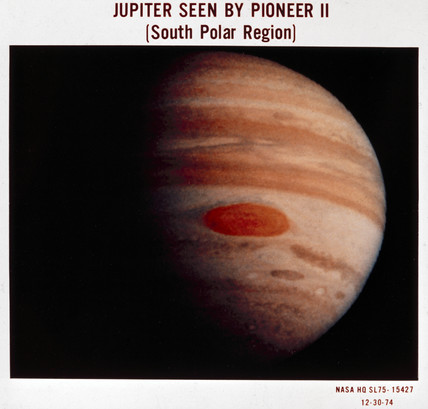 Jupiter photographed from Pioneer 11, 1974.
