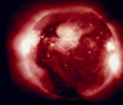 The Sun, photographed at X-ray wavelengths by Skylab, 1973.