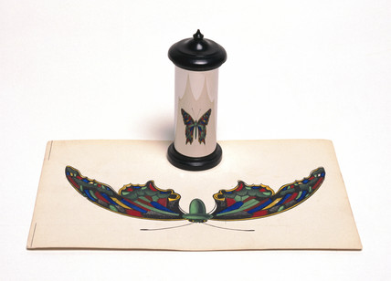Anamorphic painting of a butterfly, 1840-1850.