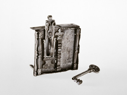 German steel chest lock with key, 17th century.