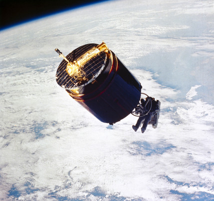 Recovery of the Westar 6 satellite by the Space Shuttle Discovery, 1984.