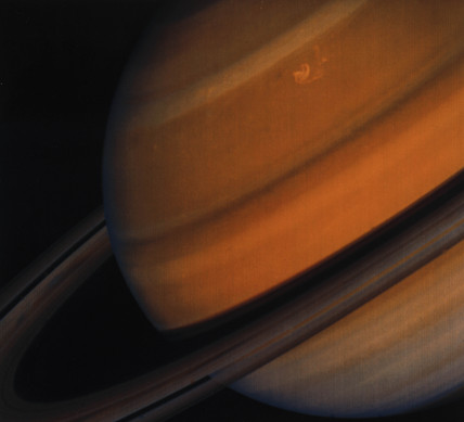 Close up of Saturn and its rings, photographed by Voyager 2, 1981.