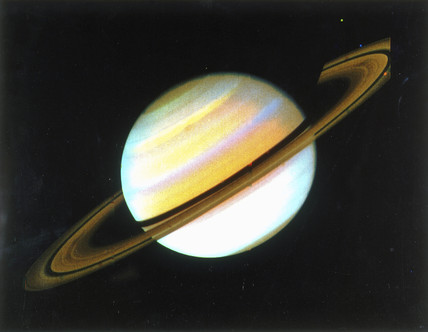 Colour-enhanced view of Saturn, 1980.
