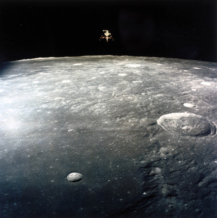 Apollo 12 Lunar Module, 'Intrepid', descending to land on the Moon, 1969.