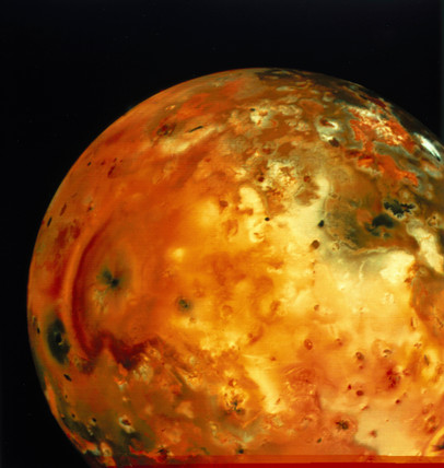 Nearly full view of Io, one of the moons of Jupiter, 1979.
