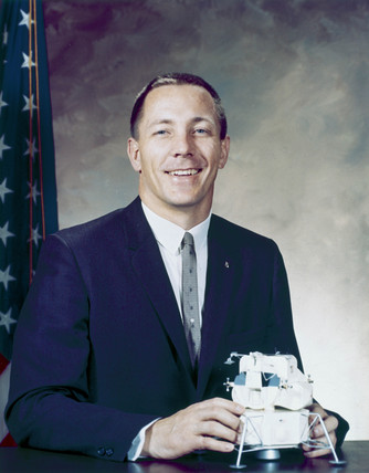 Apollo 13 astronaut John Swigert in formal suit, 1966.
