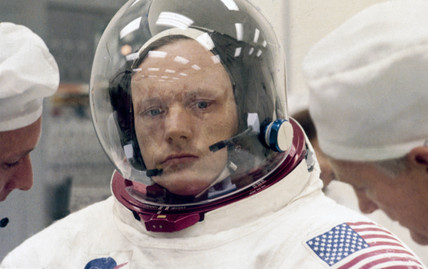 Close up of Apollo 11 astronaut Edwin 'Buzz' Aldrin, 1969.