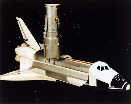 Space Shuttle and Hubble Telescope, 1980s.