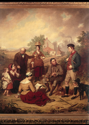George Stephenson, English railway engineer, and family.