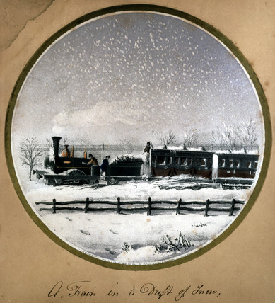 A train in a drift of snow, 1850.