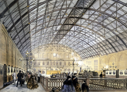 Charing Cross Railway Station, London, late 1860s.