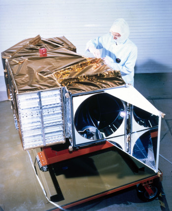 Landsat D satellite before launch, 1982.