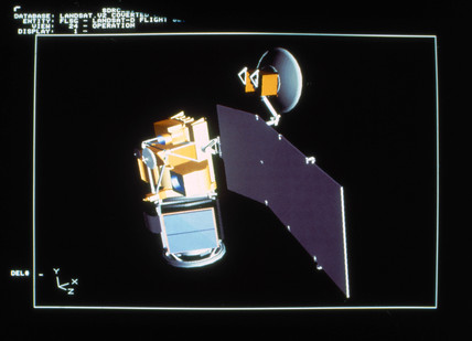 Computer aided design of Landsat, 1980s.