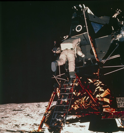 Apollo 11 astronaut Edwin 'Buzz' Aldrin descending to the lunar surface, 1969.
