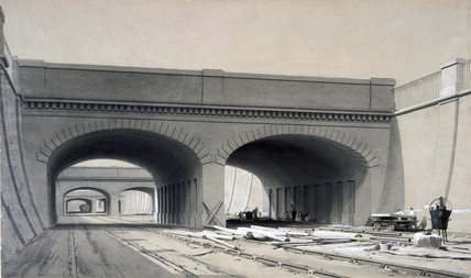 View near Euston Station, London, with three overbridges, September 1837.