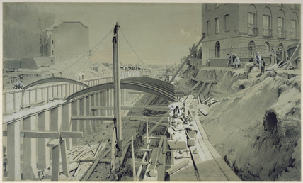 Building the retaining walls at Park Street, Camden Town, September 1836.