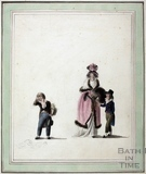 Lady with two children. Watercolour c.1784