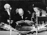 Winston Churchill signing the Honorary Freeman of the City document in the Guildhall 1950